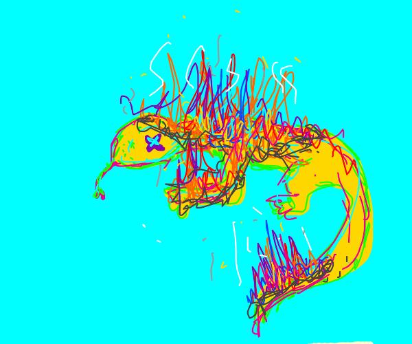Lizard on fire