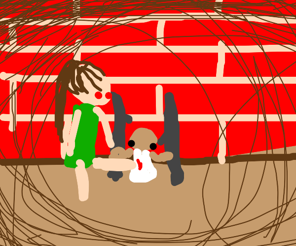 dude kicks small dude in cage