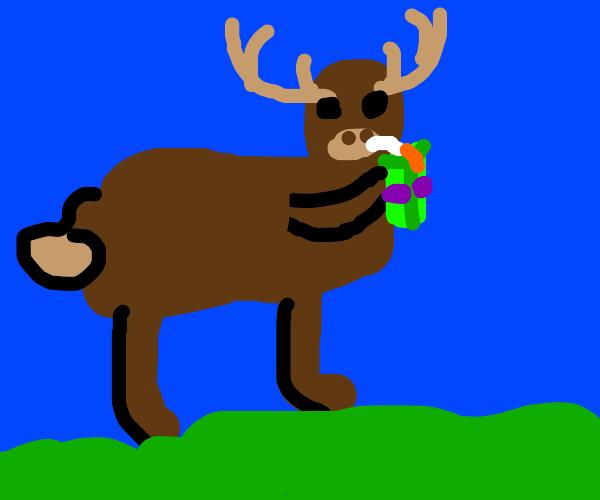 Deer drinking someones juice box