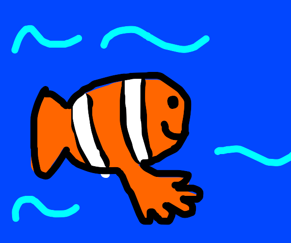 Clownfish with hand