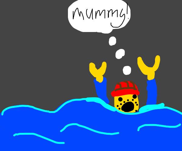 drowning lego man wants his mummy