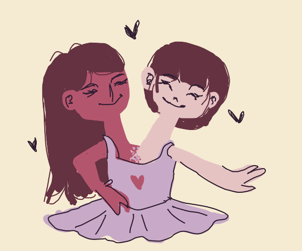 two-headed thing wearing a heart-shaped dress