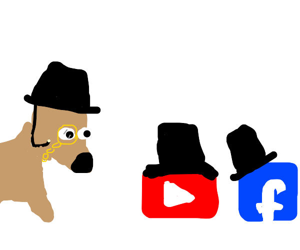 Dog, Facebook, and Youtube wear Tophats