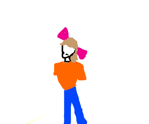 A girl with bow on her head