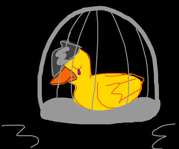 Uh edgy duck with purple tears in cage
