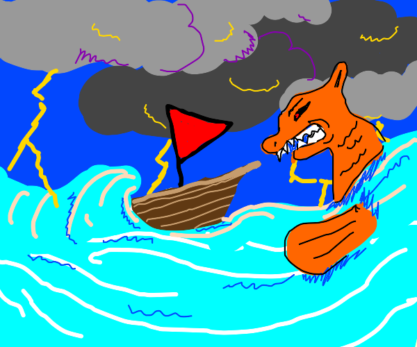 Boat getting attacked by water monster