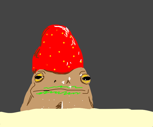 frog with a strawberry hat