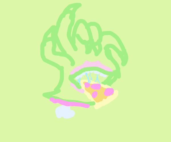 Monster hand eating pizza