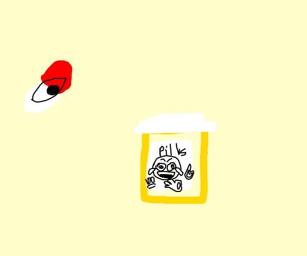 A pill with an eye next to a pill bottle
