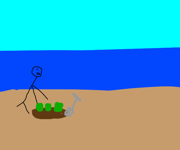 Man discovers green boxes in sand
