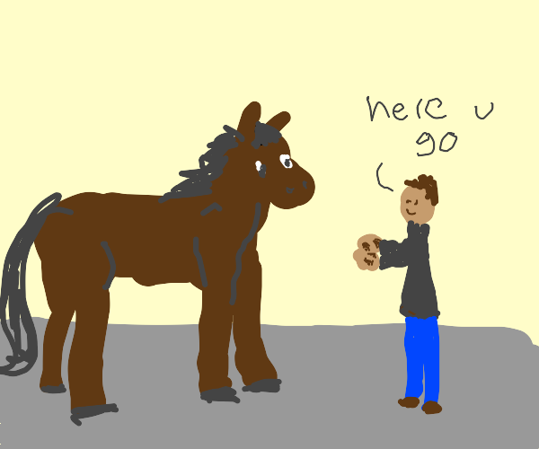 man gives horse fleas