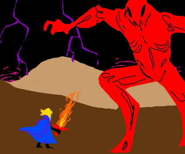 hero w. flame sword fights a big demon