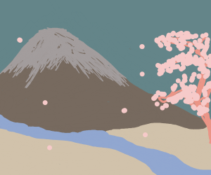 cherry blossoms, a river and mount Fuji