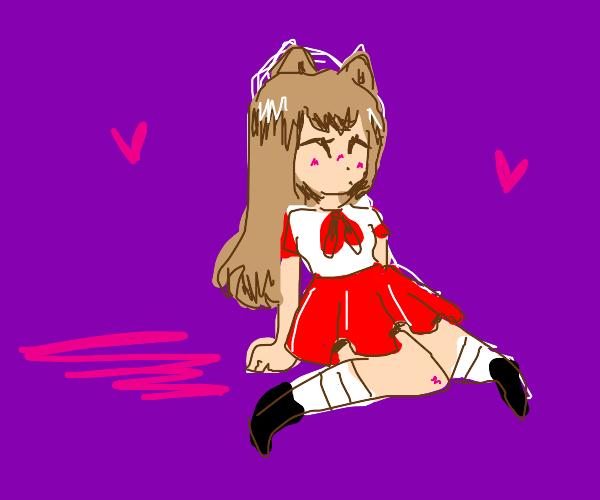 anime cat girl in dress