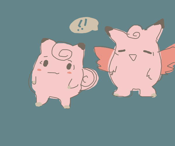 Clefairy and Clefable hang out.