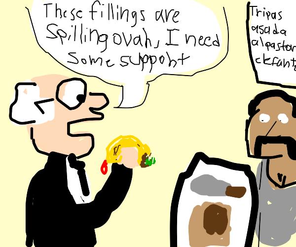 Bernie Sanders eating a Taco
