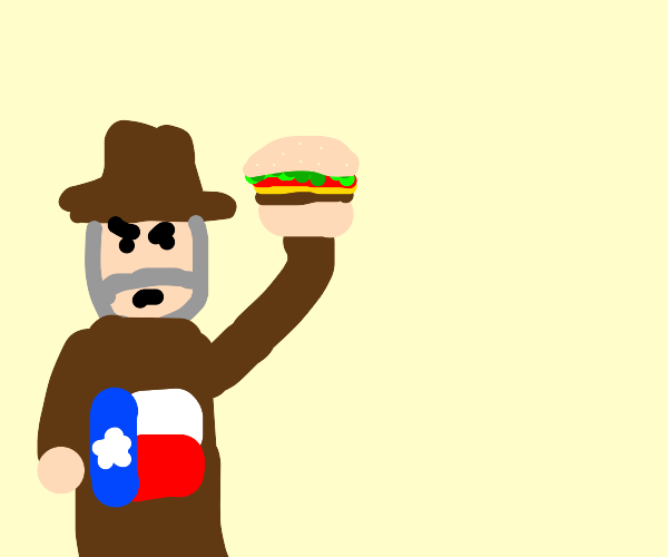 Angry Texan about to throw a Burger