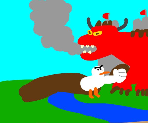 A duck punching a dragon