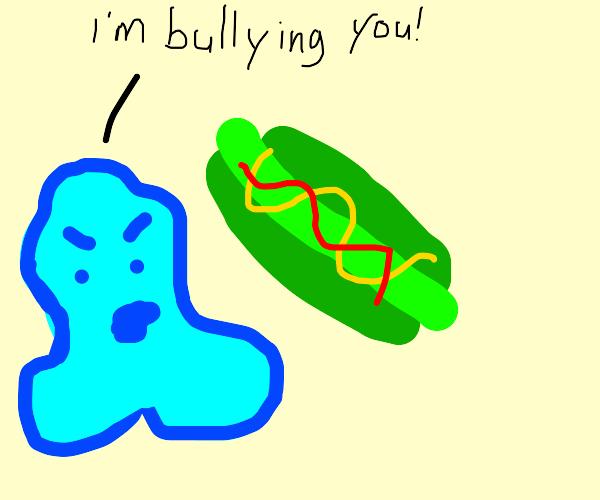 blob bullying a green hotdog
