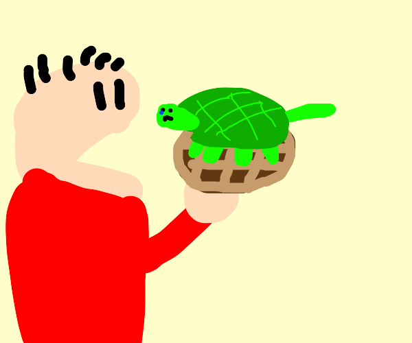 Guy eats Turtle in a chocolate waffle
