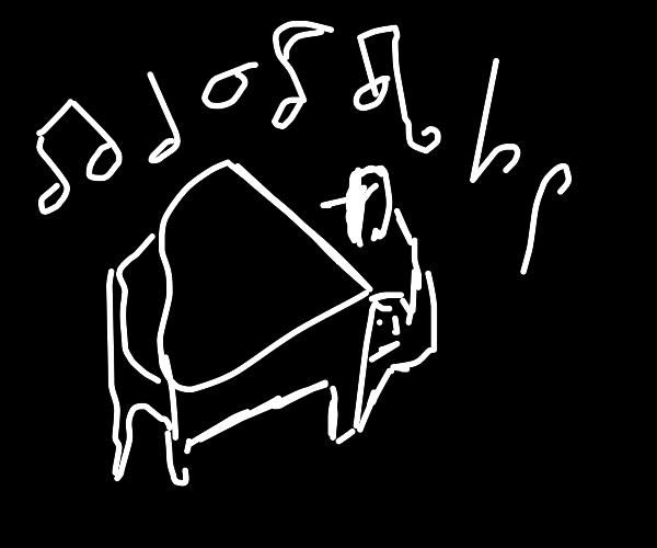 Stick figure playing piano in the  V O I D