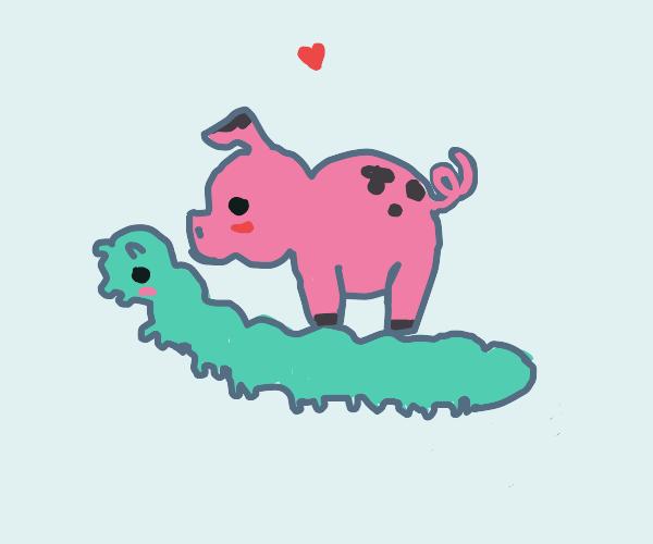 Cute pig riding cute mint green caterpillar