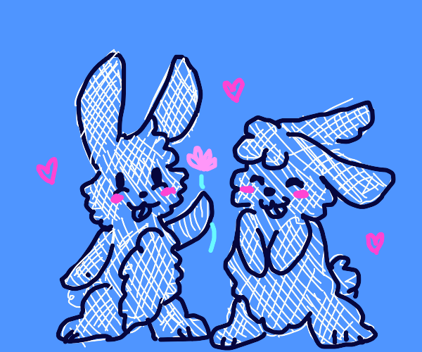 Two bunnies in love