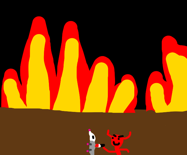 Devil stabs a possum in hell