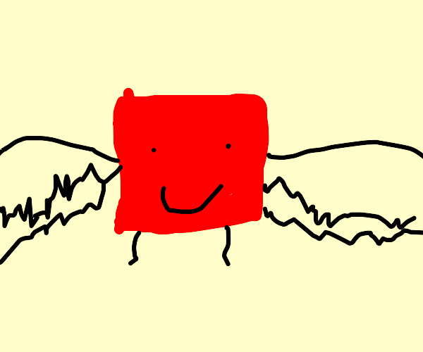 happy red cube with feet flies super fast!