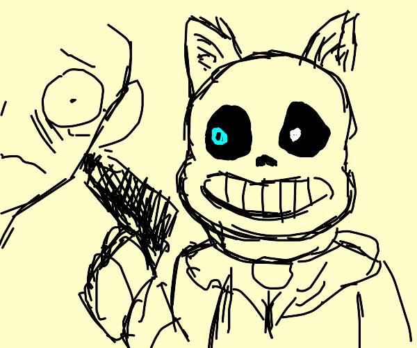 sans (or furry?) holding a man at gunpoint