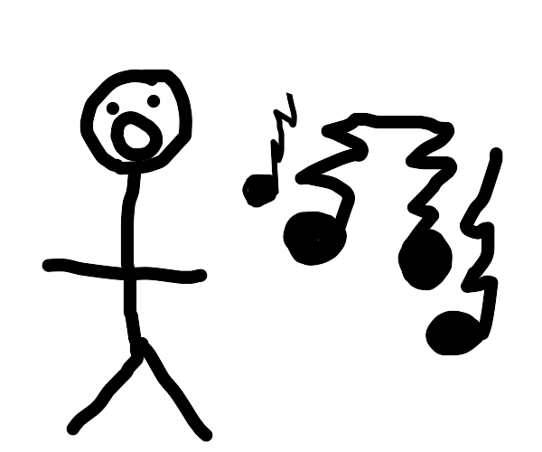 Stick person can't sing