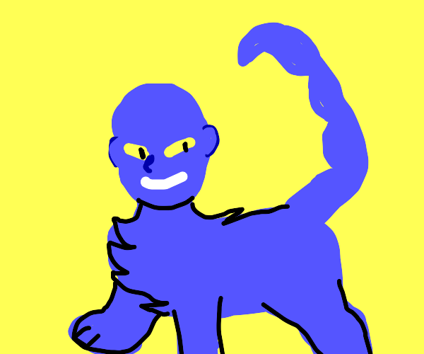 Blue Cat with a human face and a skorbiontail