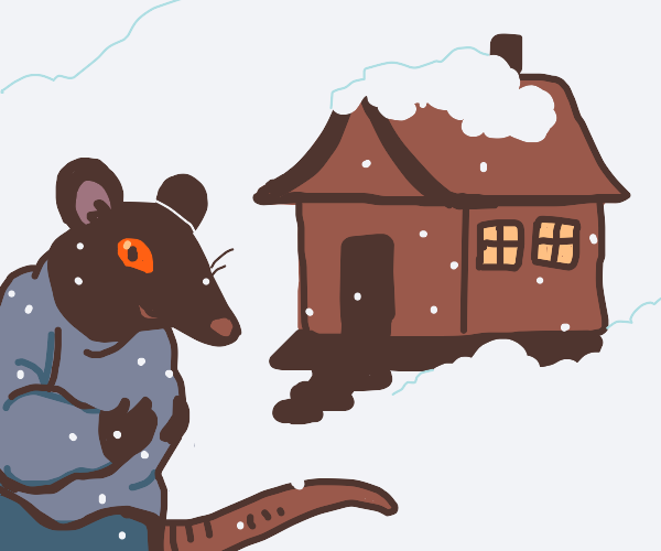Rat man standing outside house in snow