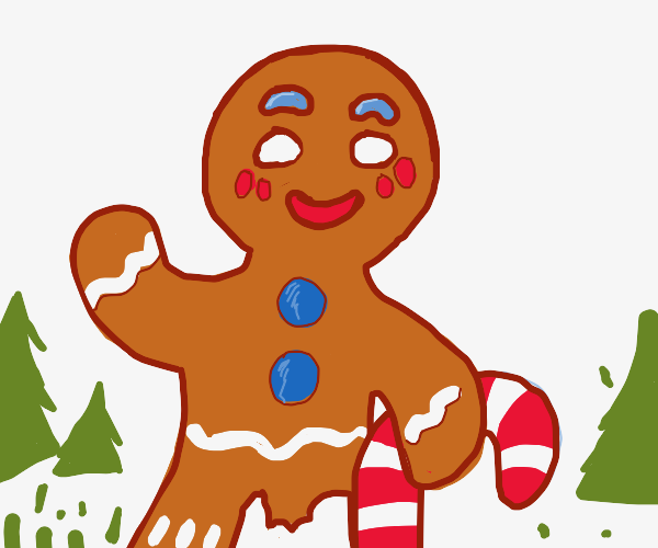 Gingerbread man walks with candy cane