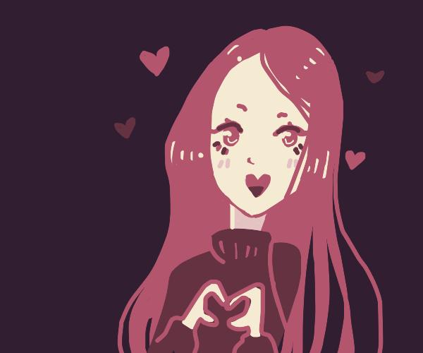 Cute anime character makes a hand heart