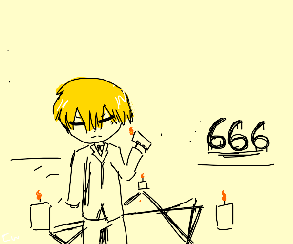business man attempts demonic ritual