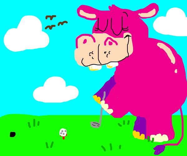 Giant pink hippo plays mini golf