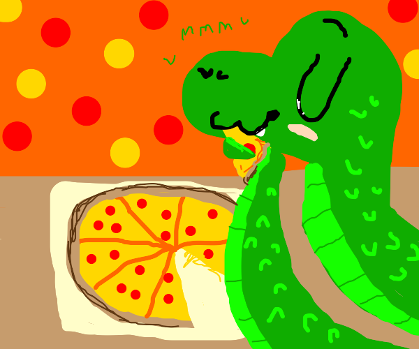 Snake with some pizza