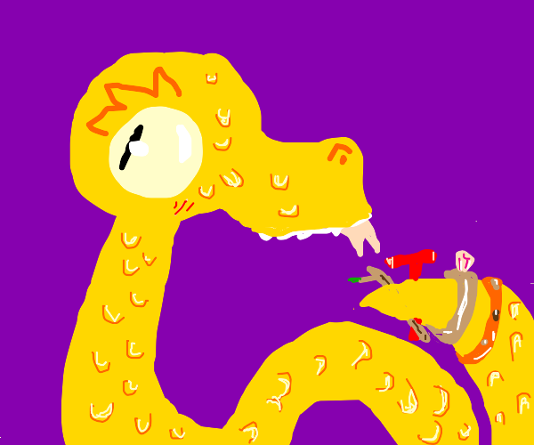 a snake with rings on his butt sticking his t