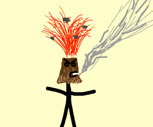 Volcano Man Smoking