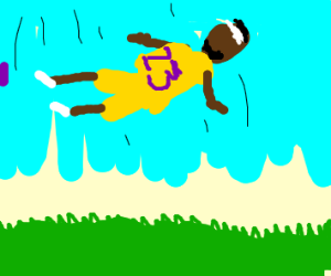LeBron James falling from the sky