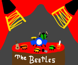 literally beetles performing as a band