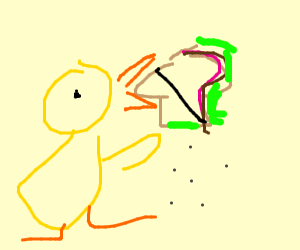 Duck eating a sandwich