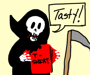death eating a red t-shirt