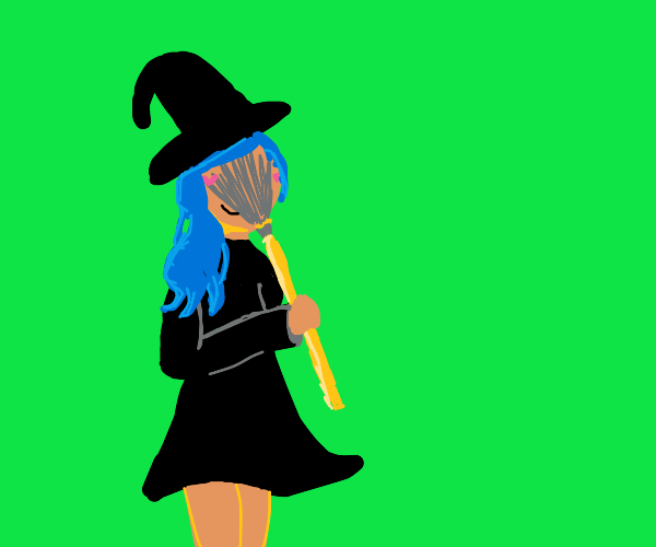 Witch loves sniffing the broom