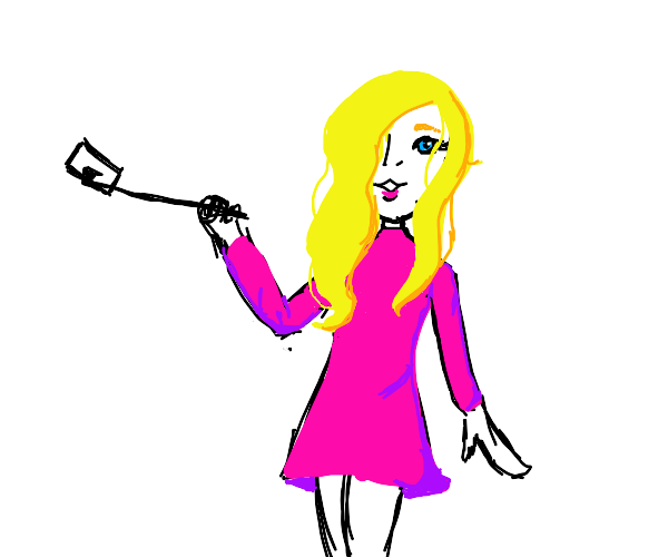 Blonde takes a selfie with a stick.