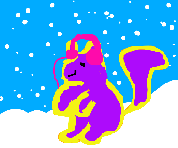 Purple squirrel in the snow with headphones