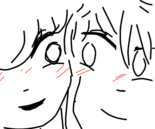 what a cute big-eyed couple with bangs