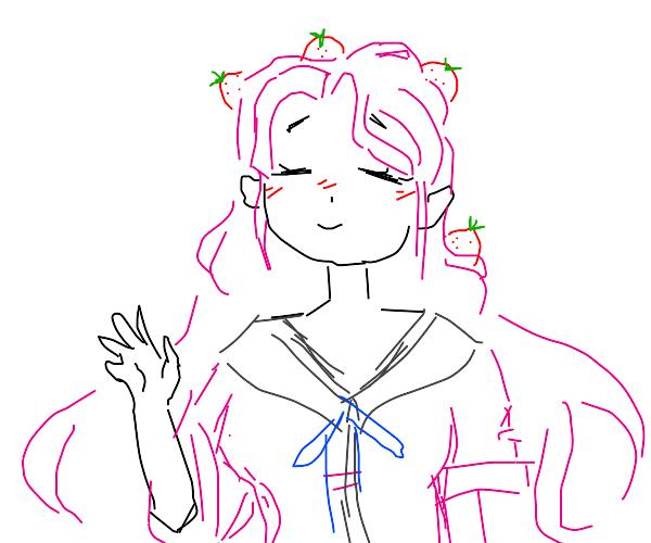 Waving schoolgirl w/ strawberries in hair
