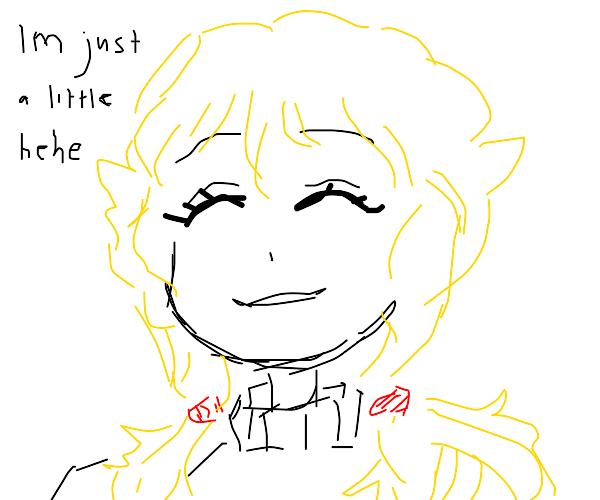"Blonde pigtails girl ""I'm just a little hehe"""